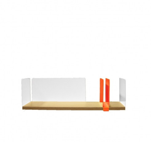 portable atelier shelf with fluorescent orange sliding element - фото