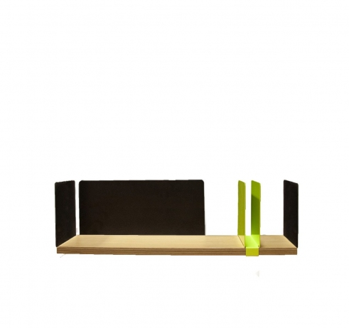 portable atelier shelf with fluorescent yellow sliding element - фото